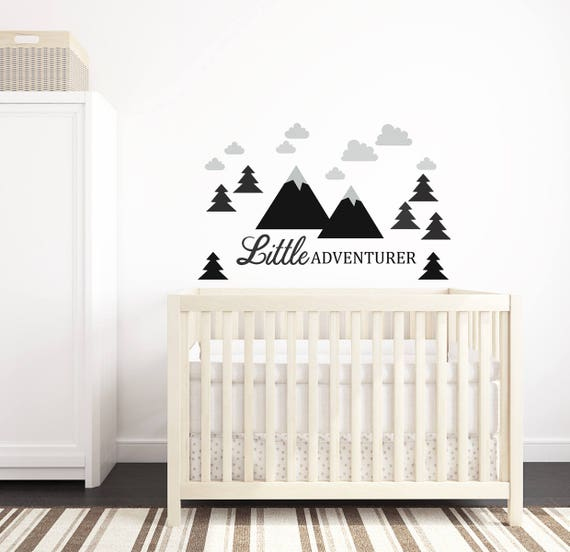 Mountains Wall Decal Nursery Crib Decor Self Adhesive Wall Sticker Kids Toddler Baby Room Decals Little Adventurer Woodland Trees Clouds