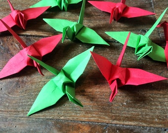 Green and Red HOLIDAY SPECIAL Folded Paper Birds 9cm X 100 Origami Birds Origami Paper Cranes -  Paper holiday Decorations December