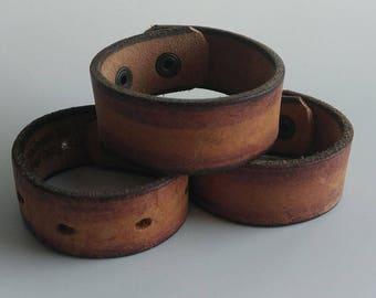 worn leather cuff worn leather bracelet belt cuff belt bracelet worn leather aged leather boho cuff boho bracelet unisex cuff earthy neutral