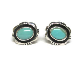 Vintage Navajo Turquoise Stud Earrings Vicky Martin