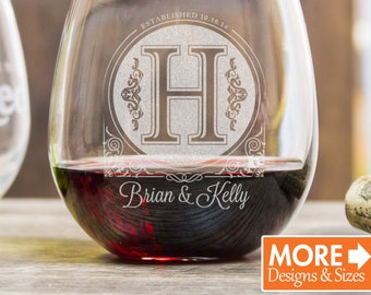 Laser Etched Wine Glasses, Anniversary Gift For Women, Monogram Wine Glass, Stemless Wine Glasses, Red Wine Glass, Wedding Glasses