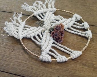 Small macrame gift for her Car charm Small flower bouquet Macrame hanging ornament Modern macrame gift Bohemian wedding Bridesmaid gifts