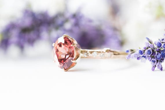 Mauve zircon oval engagement ring, gold twig engagement ring, rustic oval engagement ring, alternative engagement ring, unique diamond ring