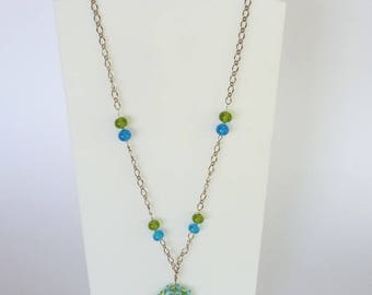 Necklace and Earring set, Lampwork glass beads, aqua and lime mandala, chain