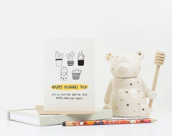 Funny Mothers Day Card  - Mom Card - Mum Card - Card for Mom - Funny Day Card - Funny Card for Mum - Plant Card