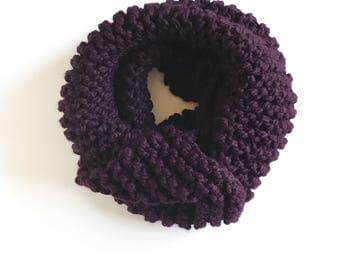 Cozy Purple Cowl, Handmade Knit Scarf, Oversized Cowl, Chunky Knit Eggplant Scarf
