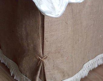 Bedskirt - Burlap Bed Skirt - Rustic Bedskirt with Fringe  - Burlap Bedding - Bedskirt - Farmhouse Bedskirt - Burlap Valance - Queen Size