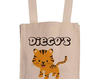 Personalized Canvas Book Bags With Gusset - Canvas Tote Bag - Kids Book Bag - Tiger Book Bag