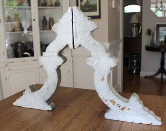 Antique Achitectural Salvage Wooden Corbels Pair Chippy White Paint Set of 2