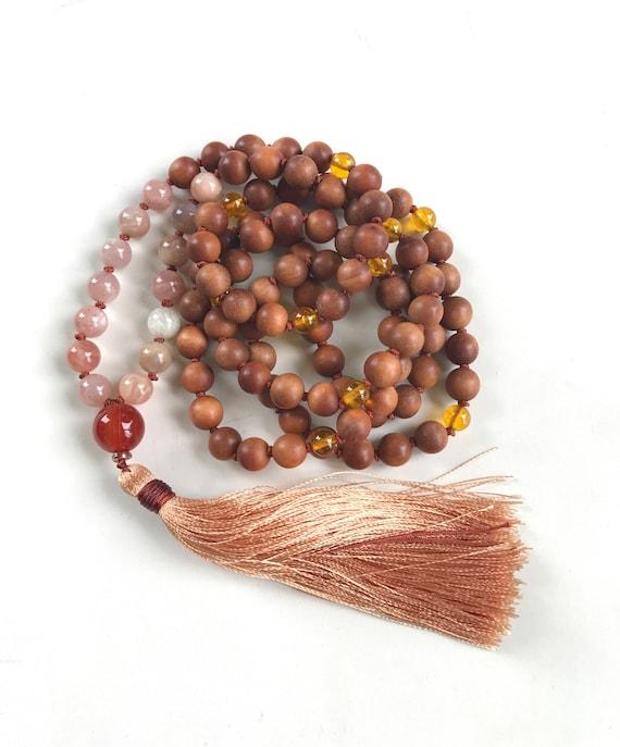 Sunstone Moonstone Mala Beads, Sandalwood Mala Necklace, Carnelian and Citrine Mala, Mala Beads 108, Meditation Mala, Knotted Silk Tassel