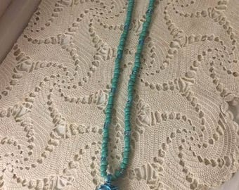 White sea stone wire wrapped necklace