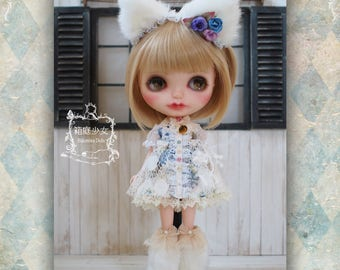 Blythe dress set. -Sweet cat-  hand made outfit.