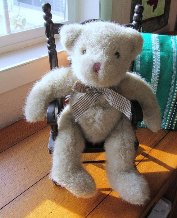 Russ Berrie Trafalgar Plush Teddy Bear Beige With Brown Plaid Bow Corduroy Fabric Paws