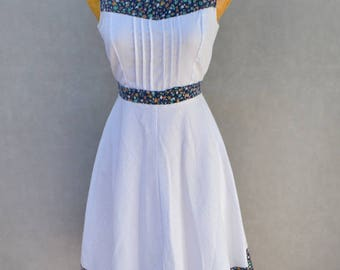 White Summer Dress with Floral Detail