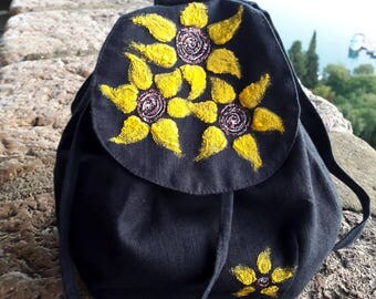 Blue linen designed backpack, Hand painted backpack, Sunflowers backpack, Sunflowers painted backpack, linen backpack, made in Croatia