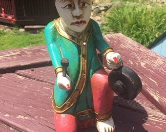 Buddhist Thai Wooden Male Figurine Playing Gong
