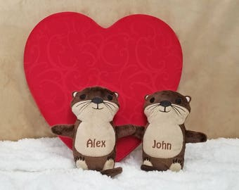 Personalized Stuffed Animal, Otters Holding Hands, Otter Plush Stuffed Animal, Otter Gift, Otter Couple, Personalized Gift for Boyfriend