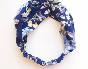 Phyllis Fabric Headband - Turban headband - Antique Florals - Boho headband - Womans headband - Adult headband - Navy fabric headband