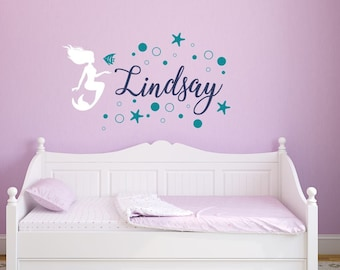 Mermaid Wall Decal with Name - Mermaid Wall Decal Girls Room- Personalized Girls Name Wall Decal - Mermaid Name Decal - Mermaid Wall Art