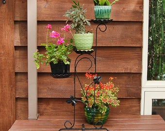 Fancy Iron Plant Stand, Vintage Garden Plant Stand, Wrought Iron Flower Pot Holder, Black Metal Plant Stand