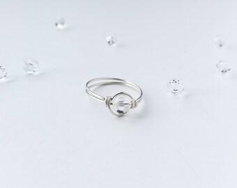 Sterling & Crystal Clear Swarovski Ring