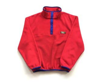 90s LL BEAN fleece sweater size womens large t snap button up polyester sweatshirt