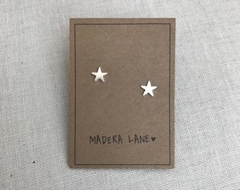 Tiny Star Stud Earrings in Silver with Sterling Silver Posts