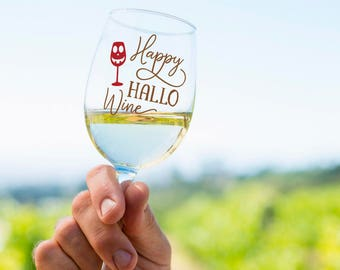Happy Hallow Wine Halloween Drinking Glass, Funny Pun Wine Beer Glass  Halloween Party Favor, Beer Wine Liquor Soda Milk Cup Mug