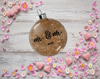 Gift for Gay Couple, Wedding Ornament, Mr. and Mr., Tree Decoration for Bridal Party, Present for Wedding Anniversary Bachelor Party Gift