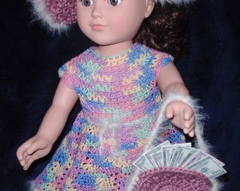 Hand crocheted dress, hat & purse (complete with play money)