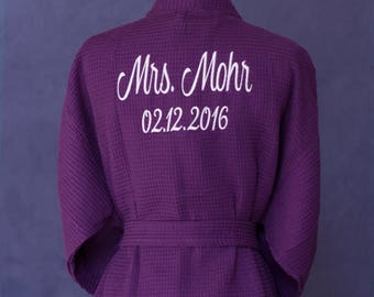 Wedding bath robe,monogrammed bride bath robe, cotton bath robe, wedding anniversary gift, bride robe, personalized bath robe, bath robes