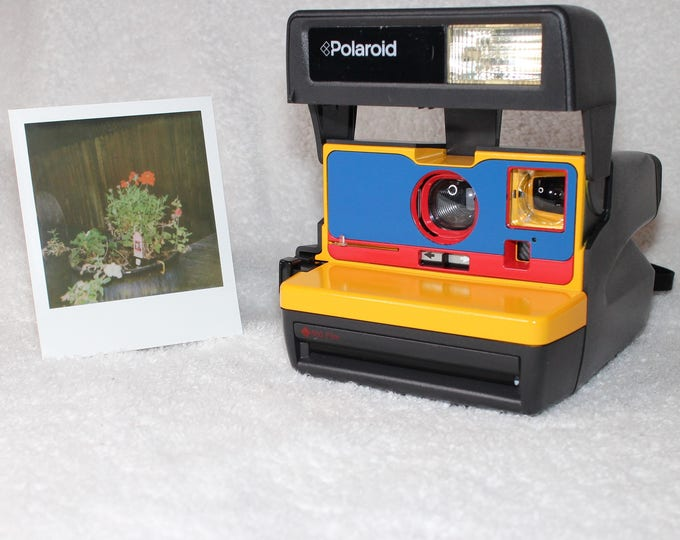 Upcycled Yellow, Blue and Red Polaroid 600 OneStep With Close Up And Flash Built-In - Ready To Use