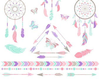 80% OFF SALE Dreamcatcher Clipart, Dream Catcher Clipart, Arrows, Tribal, Boho, Printable, Commercial Use