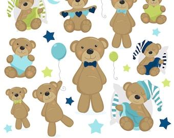 80% OFF SALE Teddy Bear Clipart, Bear Clip Art, Baby, Boy, Blue, Printable, Commercial Use