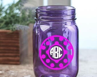 Circle Dot Border Monogram Decal. Choose from 21 colors. Perfect for Wine Glasses, Yeti Cups, and Flasks.