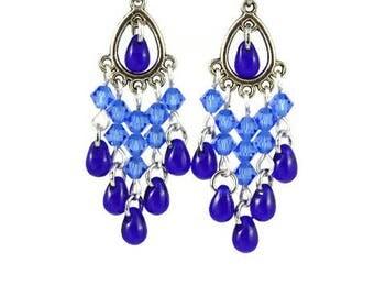 Navy and Cobalt Blue Chandelier Earrings, Lever Backs, Posts, Hooks, Clip Ons, Wedding Birthday Anniversary Bridesmaids Mom Career