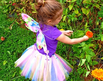 Child Wings Child Rainbow Wings Child Fairy Wings Rainbow Fairy Wings Costume Wings with Pink and Blue Daisies Wings with Ribbons&Gems