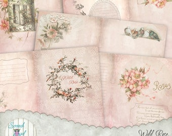 "Junk Journal Kit, Journal Pages and Elements, Roses, Birds, Printable Journal, Paper Craft Supplies, 5 x 7 "" Two Page Spread - 'Wild Rose'"