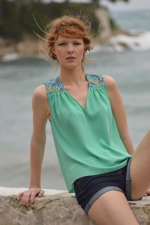 Tank top woman seafoam color. Fabric japoanais cherry flowers. French manufacturing. top was women. light green tank top