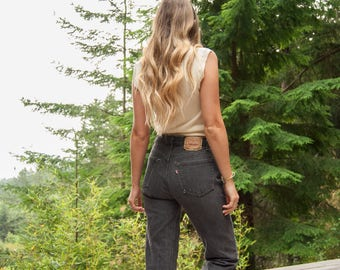 SALE Levi's 501 jeans, Womens 29 30 Waist grey vintage levis jeans, 90s Grunge high waisted jeans, Boho Distressed Boyfriend jeans, Mom Jean
