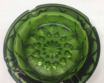 Heavy Green Glass Ashtray- Mad Men Style