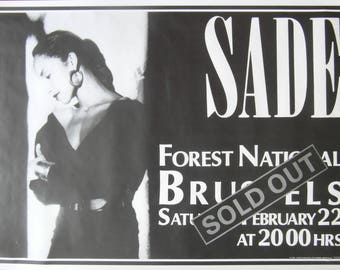 Original 1990s Sade Tour Poster for a Concert at Forest National, Brussels