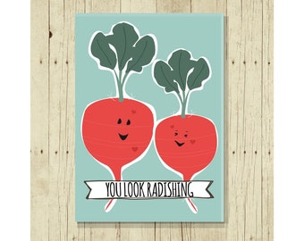 You Look Radishing Refrigerator Magnet, Funny, Cute Fridge, Gifts Under 10,  For Her, Love, Romantic, Romance, Radish Art, Vegetable Puns