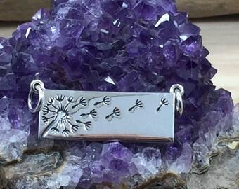 Dandelion Charm, Dandelion Disc Charm, Flower Charm, Dandelion Bar Pendant, Sterling Silver Dandelion Charm