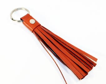Leather Tassel Keychain. Orange Leather Keychain. 100% Handmade key chain! Great gift!