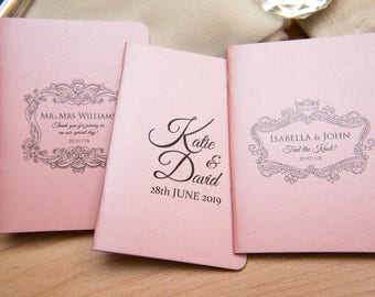 50 Baby Pink Pearlised Mini Notebook Favours. Custom wedding favor place cards, wedding decor. Unique Notepad favours Personalised favours
