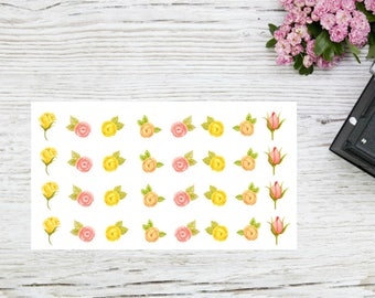 Planner stickers small yellow and pink roses