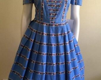 Original Vintage 50s Dress , Full Skirt , Floral , Day Dress , Pinup, Rockabilly , Large