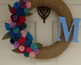 Burlap wreath, felt flower wreath, initial wreath, burlap and flowers wreath