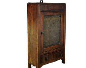 Vintage Oak Medicine Bathroom Standing Cabinet Apothecary Bubbled beige Glass